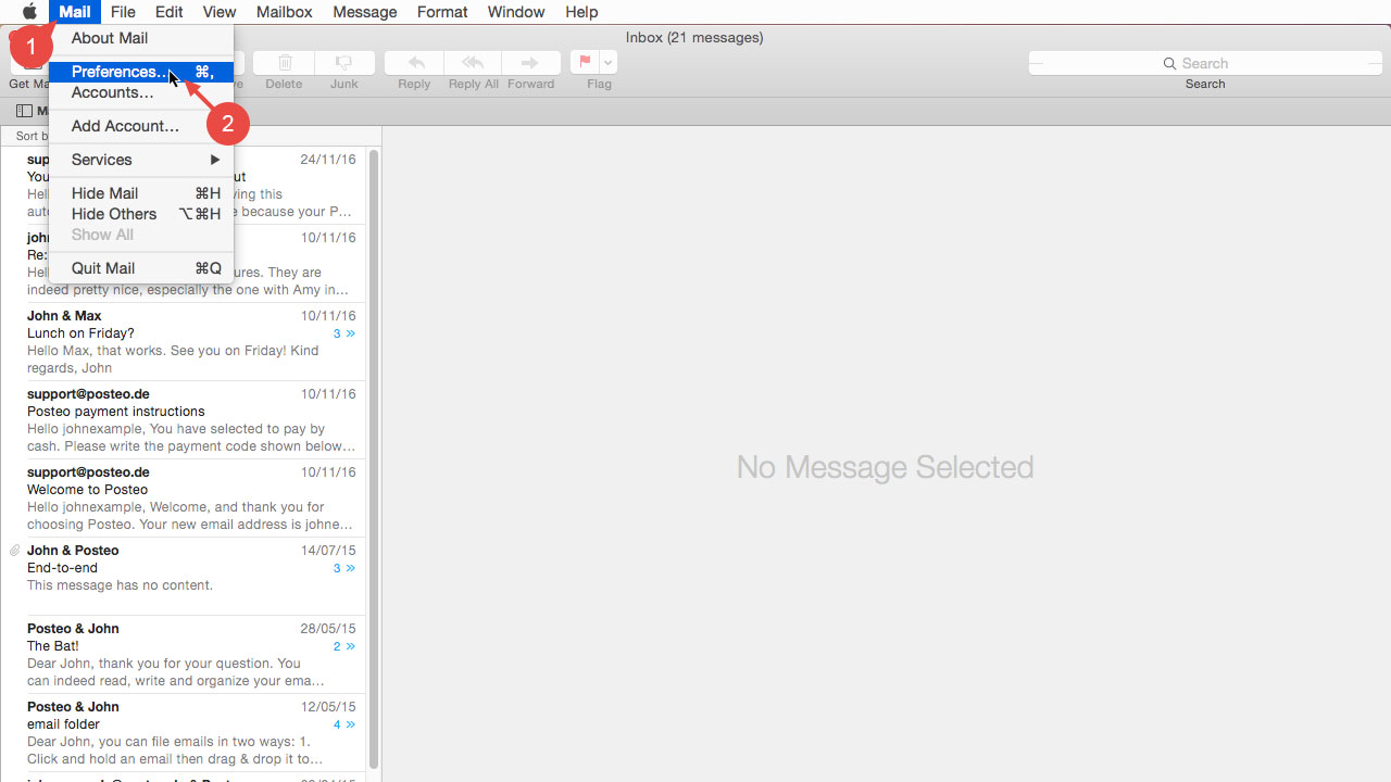 "In the Apple Mail menu, click ""Mail"" and then open ""Preferences""."