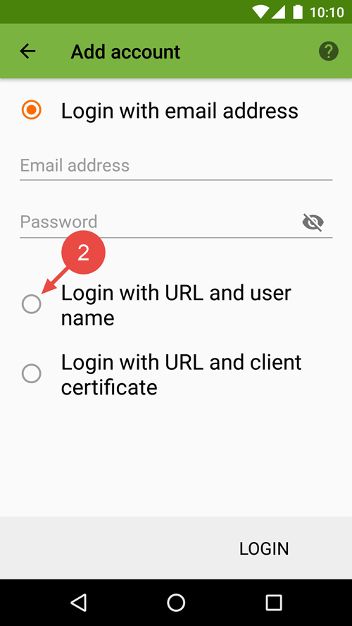 "Select ""Login with URL and user name""."