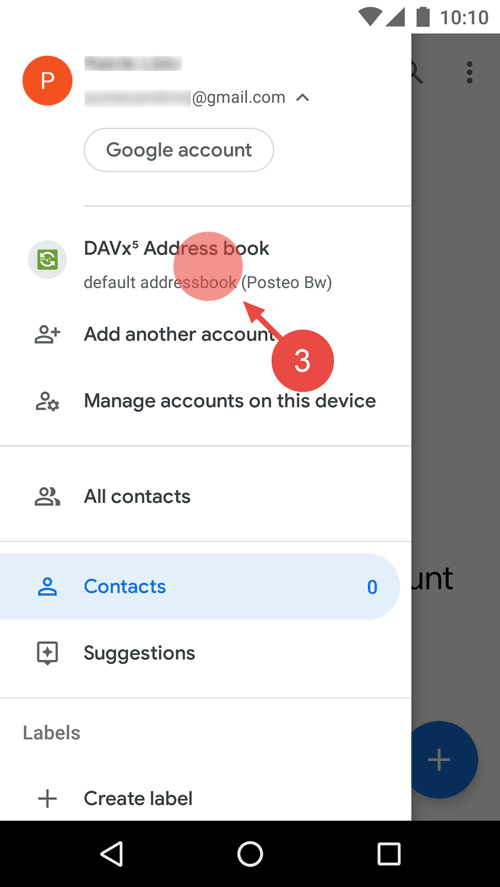 "Select ""DAVx5 Address book""."