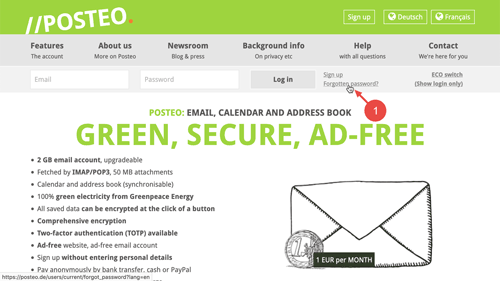 """Click on """"Forgotten password"""" on the Posteo homepage."""