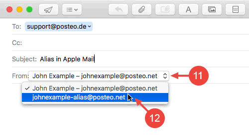 "Select your alias as the sender when composing an email in Apple Mail via the drop-down menu next to ""From""."