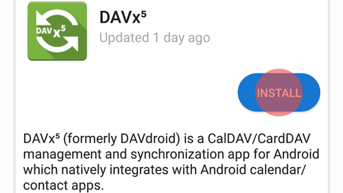 First install Davx5 on your smartphone. You can find the app on F-Droid or in the Google Play store.