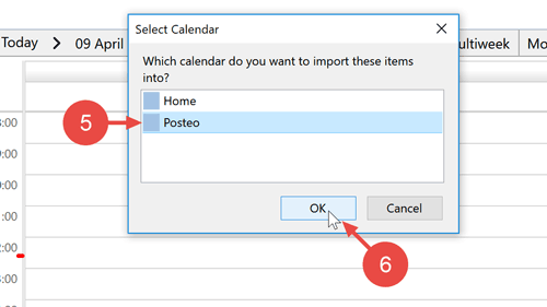 """Select a calendar file and the Posteo calendar as a target calendar. Begin importing by clicking on """"OK""""."""