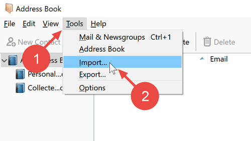 "Open the address book in Thunderbird and click on ""Tools"" and then on ""Import""."