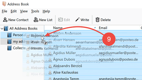 "Move the contacts via drag & drop to your ""Posteo Address Book""."