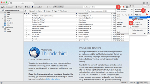 Open Thunderbird's settings via the sandwich button.