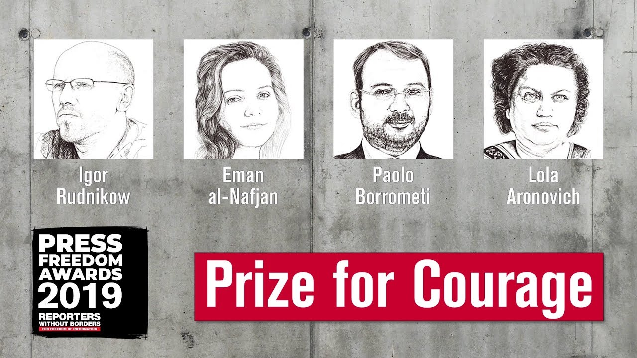 "The nominees for the &quotCourage"" category in the Press Freedom Awards"